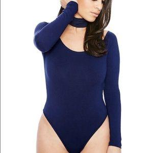 NAKED WARDROBE navy blue choker bodysuit